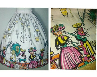 RARE Vintage 50's Saul Steinberg CALYPSO Novelty Print Skirt | 1950's Figural | Instruments | Fruits | Cotton Printed Bombshell Skirt
