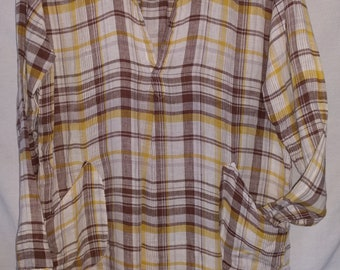 Vintage Linen Tunic CP SHADES size Small 100% Linen shirt dress w/ pockets Preppy white brown plaid with yellow Teton style