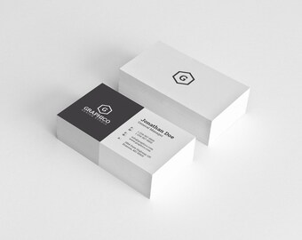 Simple Minimal Business Card Design Template - Photoshop Templates - Modern, Coprorate, Creative - Instant Download - v18
