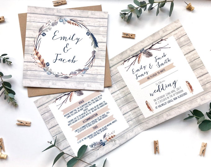 Rustic Wedding Invitation SAMPLE - 148mm square card with rustic wooden background and feather design - Autumn Woodland Wedding