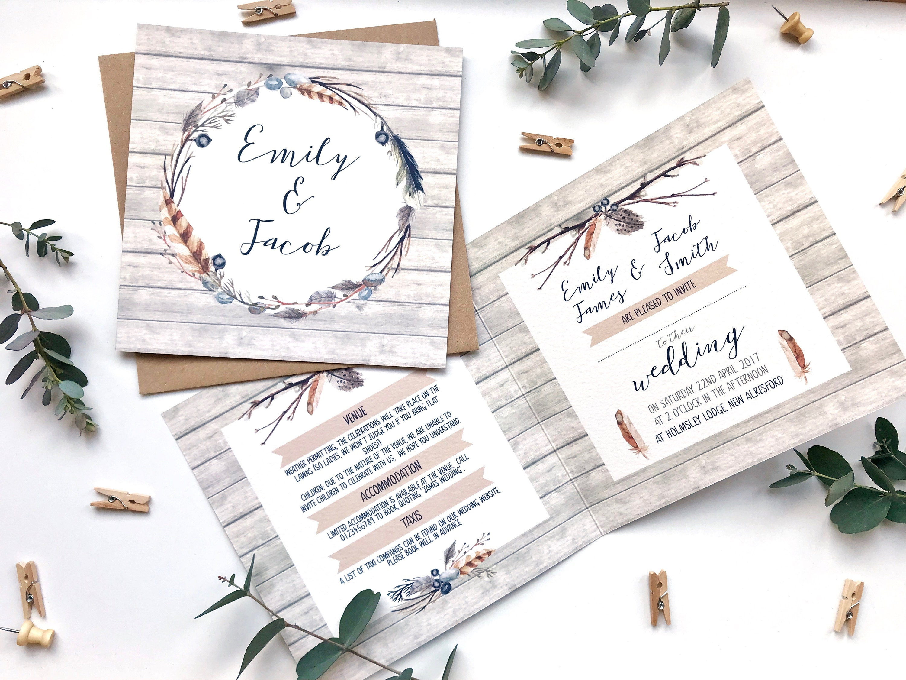 Rustic Wedding Invitation SAMPLE - 148mm square card with rustic ...