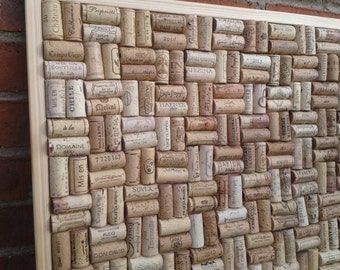 "Cork Notice / Pin Board hand-crafted from re-cycled Wine Corks in Basketweave layout- large size 24"" x 18"" (60 x 45cm )"