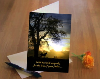 Sympathy Card, Loss of Father, In Thoughts and Prayers, Horse and Oak Tree, Deepest Sympathy