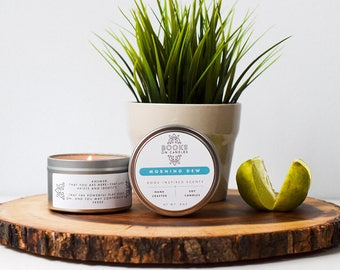 Morning Dew - Bookish Soy Candle inspired by Walt Whitman's Leaves of Grass. Book lover gift - Classic books scented candles for readers