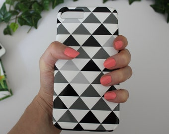 Gray Triangles iPhone Case - Black & White Minimalist Design, Geometric Shapes, Strong Plastic Cover for iPhone X, 8, 7, 6, 6S, Plus