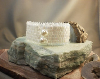 Bridal white cuff bracelet