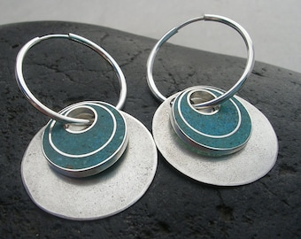 Silver Hoop Earrings//Interchangable Circle Earrings//Turquoise and Resin//Contemporary Jewelry