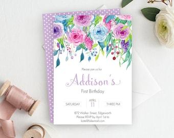 Purple First Birthday Invitation, 1st Birthday Invitation, Printable Invitation, Birthday Party Invitation, Girl First Birthday, Lavender