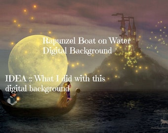 RAPUNZEL DIGITAL BACKGROUND Boat on Water with Floating Lights Night Scene jpeg file for photographers or scrapbookers