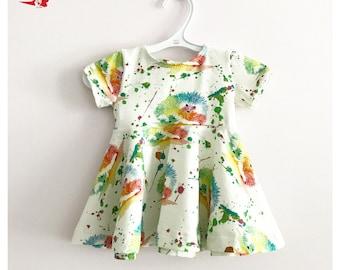 Dress, baby, toddler, preschooler, girl, hedgehog print, organic jersey, Euro knit
