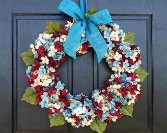 Patriotic Red, Cream (Off-White) and Blue Faux Hydrangea Wreath for 4th of July Summer Front Door Porch Decor; Small - Extra Large Sizes