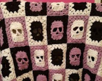 Handmade Crochet Skull Accent Blanket