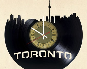 Toronto skyline vinyl clock Ontario gift for men women kids birthday home decor - unique design that made out of vinyl LP record