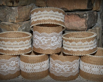 12 Mason Jar Sleeves Burlap Lace Wraps Shabby Rustic Wedding Party Shower Decorations Centerpiece