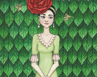 Girl with Rose in Hair and Humming Birds - Art Print - Watercolor Painting