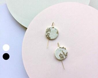 Large round drop earrings, polymer clay jewelry, modern gift girlfriend, minimal earrings, geometric statement earrings, gift for women