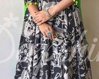Handprinted Silk Kalamkari Salwar