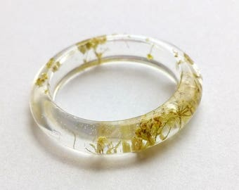 Real Flower Resin Ring, Translucent Ring, Angelica Ring, White Ring, Flower Ring, Flower Resin Ring, Pressed Flower Jewelry, Ring For Her