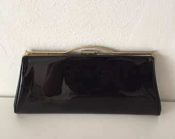 VTG 1960s Black Patent and Gold Clutch Purse Handbag