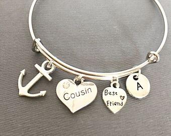 Cousin Gift, Custom Bangle, Cousin Anchor Charm Bangle, Cousin Bracelet, personalized, customized, initial, monogram, best friends cousin