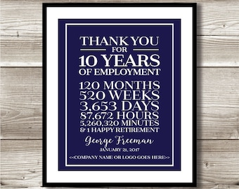10 Year Work Anniversary/Retirement Print; gift; digital print; customizable; thank you gift; years of service; employee recognition