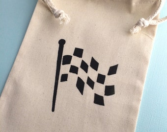 Race Car Party Favor Bags with Finish Flag Design; Muslin Bags With Racing Car Designs, Transport Party Supplies