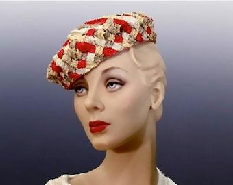 "Straw Tilt Hat Toque Women's Vintage Hat 1940's Designer ""Marcelle New York"""
