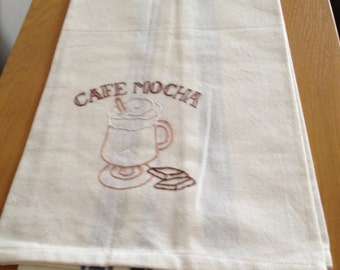 Hand Embroidered Flour Sack Tea Towel - Coffee Cafe Mocha on blue stripe