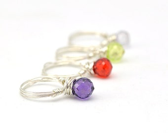 Candy Pop Ring | Wire Wrapped Ring | Gemstone Ring | Silver Purple Ring | Custom Gem Ring | Funky Jewelry | Theme Jewelry | Gift for Teen