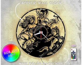 Harley Quinn, Catwoman and Poison Ivy acrylic clock with led backlight/DC Comics clock/Wall clock/Crystal clock *A0067 / Modern wall clock