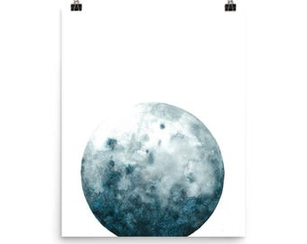 Watercolor Moon Art Print | Moon Painting | Lunar Painting