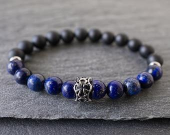 Mens cross bracelet Mens bracelet beads Gift for Men Positive energy Protection bracelet Mens Lapis lazuli Black onyx bracelet Cross jewelry