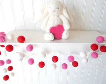 Valentines Day, Valentine's Garland, Felt Ball Garland, Felt Bunting, Valentines Day Decor, Pom Pom Garland, Girl Garland, Red, White, Pink,