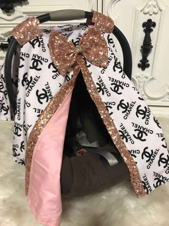 Car seat canopy , Chanel  , custom car seat canopy , Jumbo BLING bow included