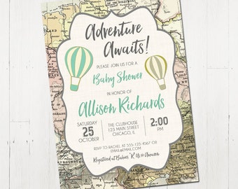 Adventure awaits baby shower invitation, world baby shower invitation, boy baby shower invitation, hot air balloon, Printable Invitation
