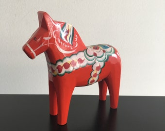 Vintage,Swedish Dala Horse,Wooden Horse,Swedish Folk Art,Home Decor,Dalecarlian Horse,Orange,Nils Olsson,Swedish Decor,Horse,Folk Art,Dala