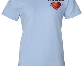 Nurse Shirt Heart Stethoscope Tee with Heart Nursing Shirt Nurse Appreciation Nursing Student Nurse Nurse Gift Ideas Nurse Registered Nurse