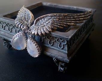 Moonstone earrings ear climber Earrings wiccan jewelry ear wings wiccan clothing Clip On Earrings Silver Bridal earrings hypoallergenic