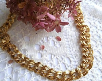 Vintage Chunky gold chain with stacked links gold tone costume jewelry adjustable oversize statement bold