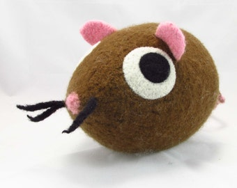 Mouse Snooter-doot – felted wool toy, whimsical soft-sculptured doll, handknit plush, decorative folkart softie, collectible stuffie, brown