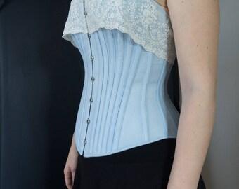 Corset Overbust romantique / bleu ciel avec tip - corset Overbust: romantique corset bleu clair - désossage acier - français dentelle
