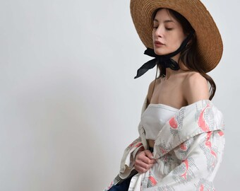 Floppy Straw Sun Hat with Ribbon Tie Vintage Summer Hat