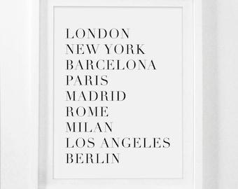 Fashion Wall Art, Fashion Print, Fashion Print Paris, Los Angeles, World Cities Print, Paris London New York, Art Print, World City Print
