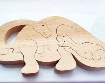 wood dinosaur, dinosaur family, Christmas Kids gifts, Animal wooden puzzle, wood toy, dinosaur  toy, dino,