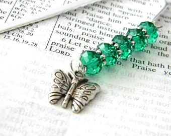 Butterfly Bookmark with Emerald Green Glass Beads Shepherd Hook Steel Bookmark Silver Color