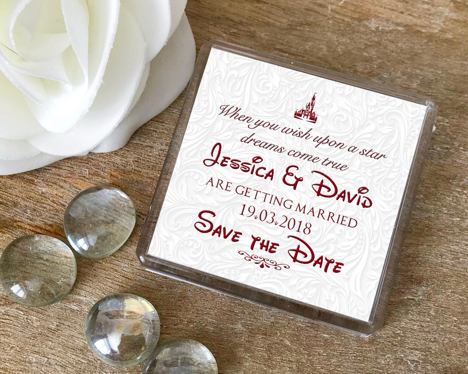 Save the Date Magnets Disney fairytale theme