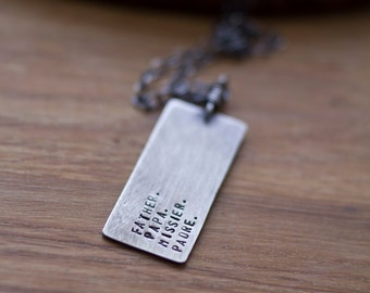 Father. Papa. Missier. Padre. (made to order - personalize - sterling silver men's dog tag) - necklace