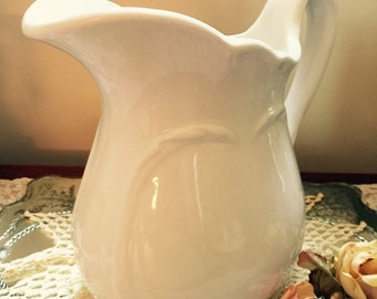 Antique// White Ironstone// Pitcher// Fresh Bouquet// Flowers// Gorgeous Heavy Mid Size Piece!