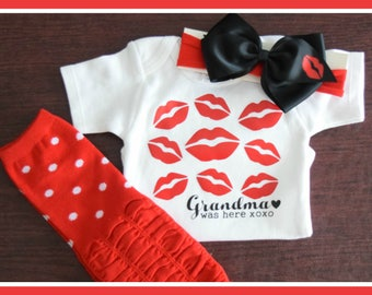 Special Free matching headband.   Personalized Grandma was here one-piece, Nana was here, Grandma kisses, Gift from grandma, Grandbaby gift