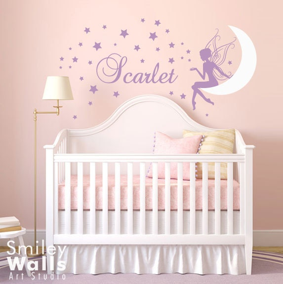stars wall decal moon wall decal fairy wall sticker fairy wall. Black Bedroom Furniture Sets. Home Design Ideas